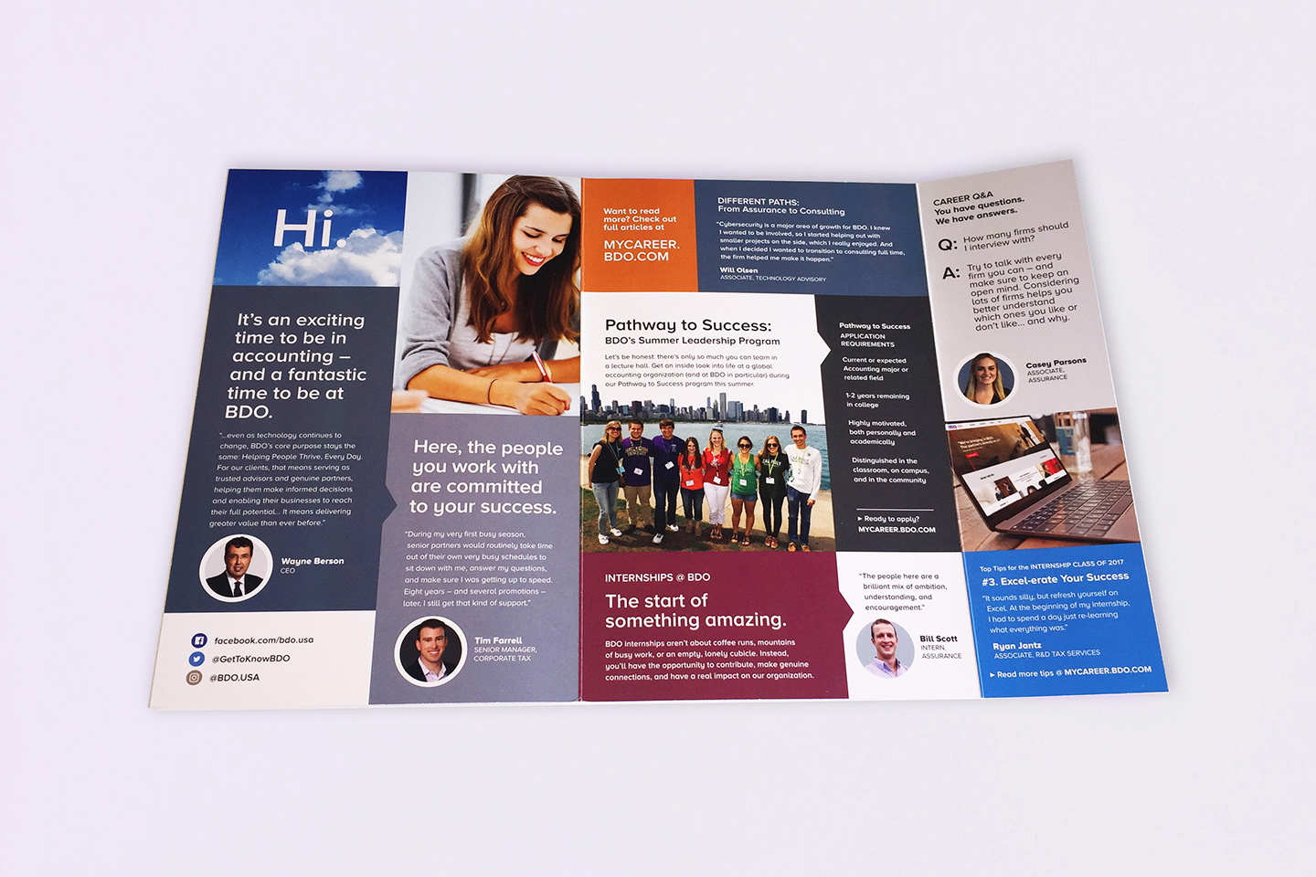 Marketing efforts to approach students include brochures, videos, social media, website design, event items.